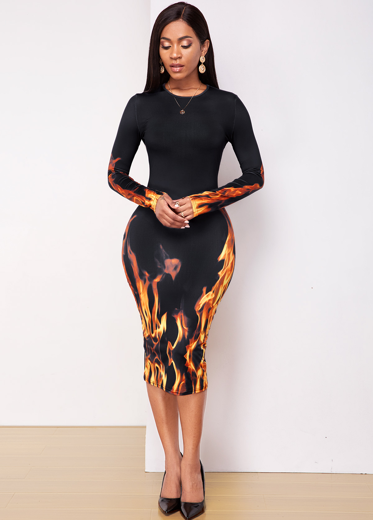 Flame print Long Sleeve Round Neck Dress