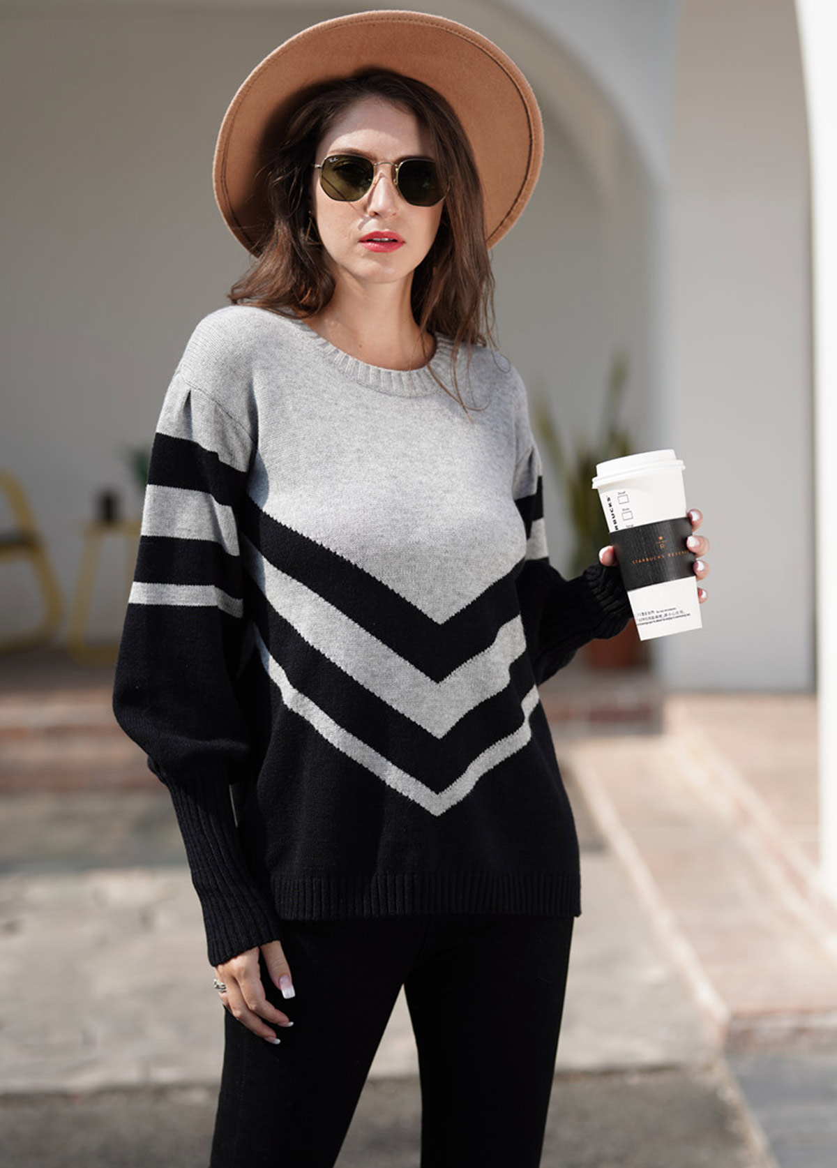 Round Neck Long Sleeve Contrast Striped Sweater