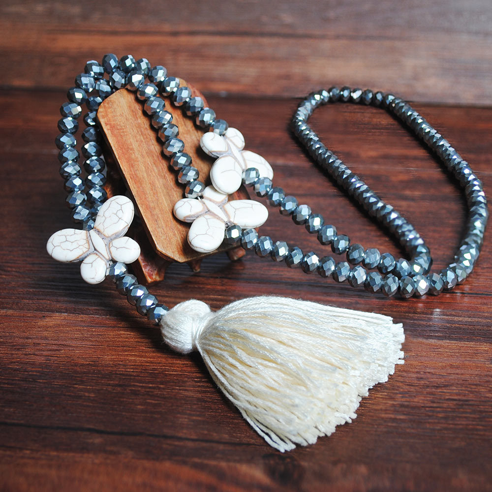 White Tassel Bead Butterfly Design Necklace