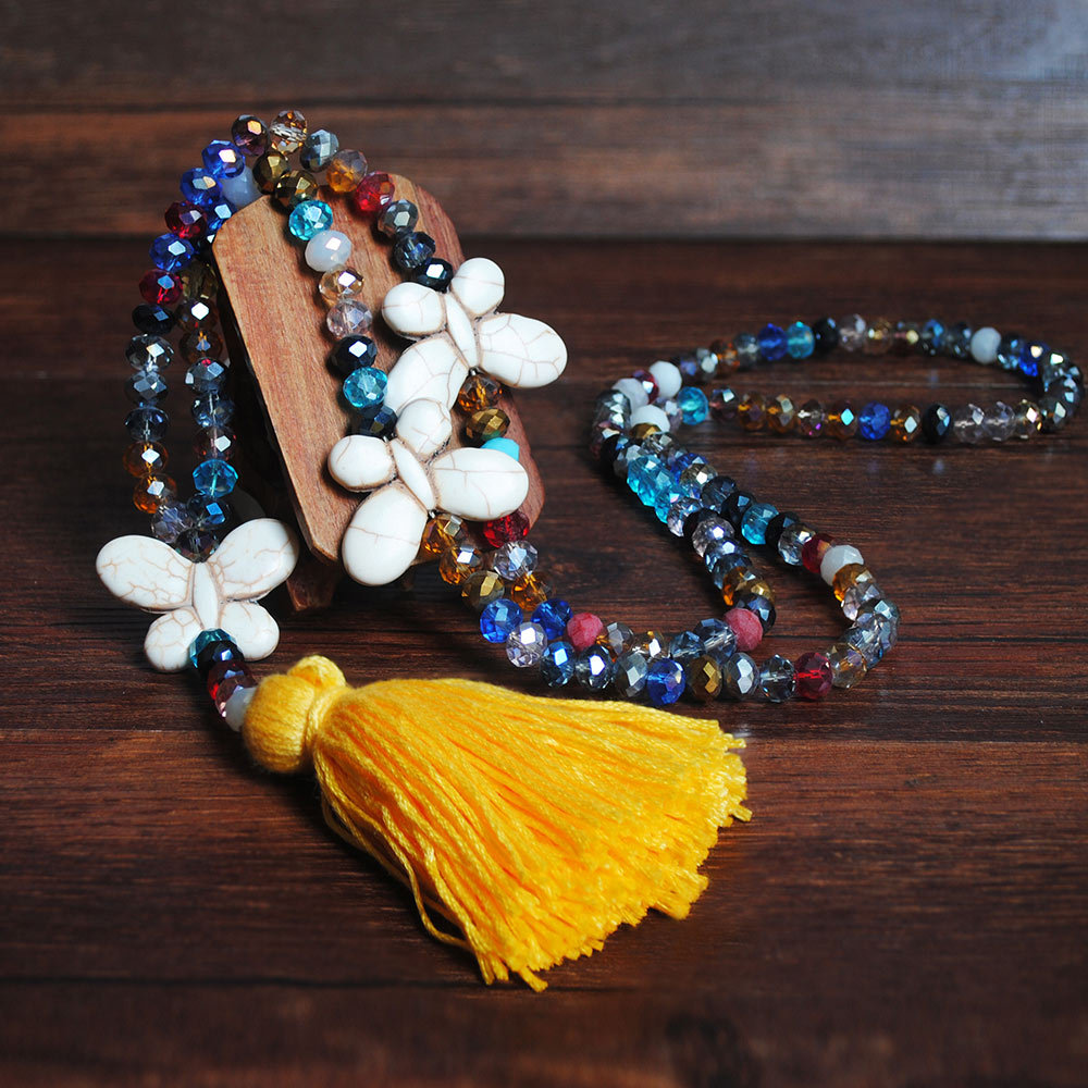 Yellow Tassel Bead Butterfly Design Necklace
