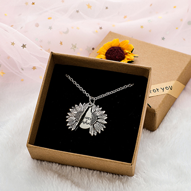 Sunflower Pendant Silver Metal Letter Necklace