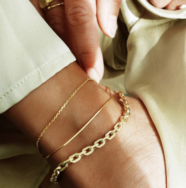 Gold Metal Chain Anklet Set for Women