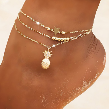 Pineapple and Star Gold Metal Anklet Set