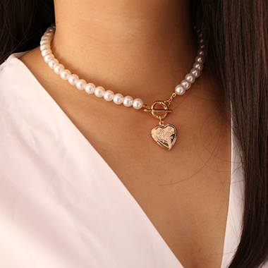Heart Pendant Pearl Detail Silver Necklace