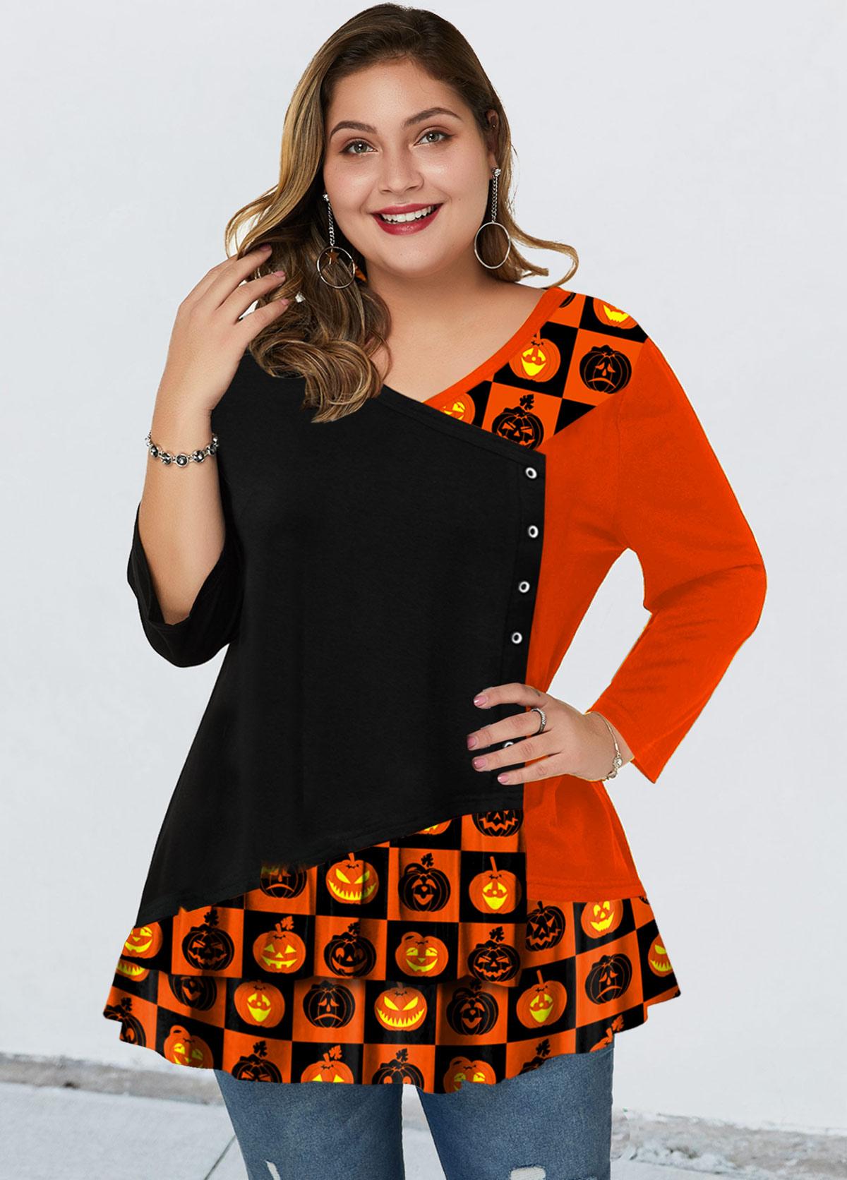 Plus Size Halloween Print Asymmetric Neck T Shirt