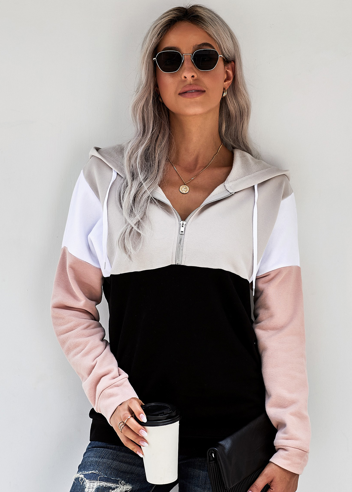 Zipper Closure Color Block Drawstring Hoodie