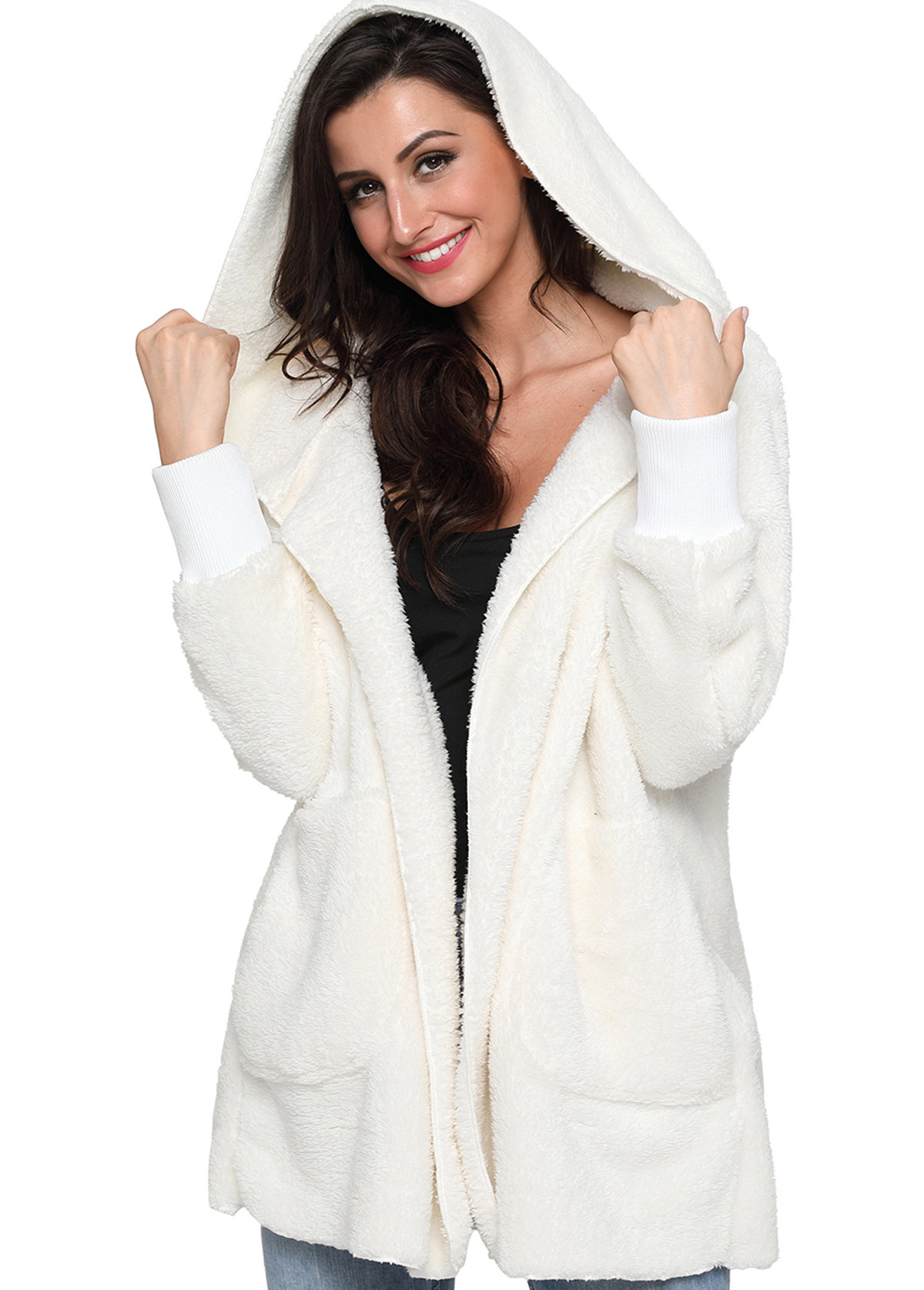 Hooded Collar Open Front Long Sleeve Fluffy Jacket