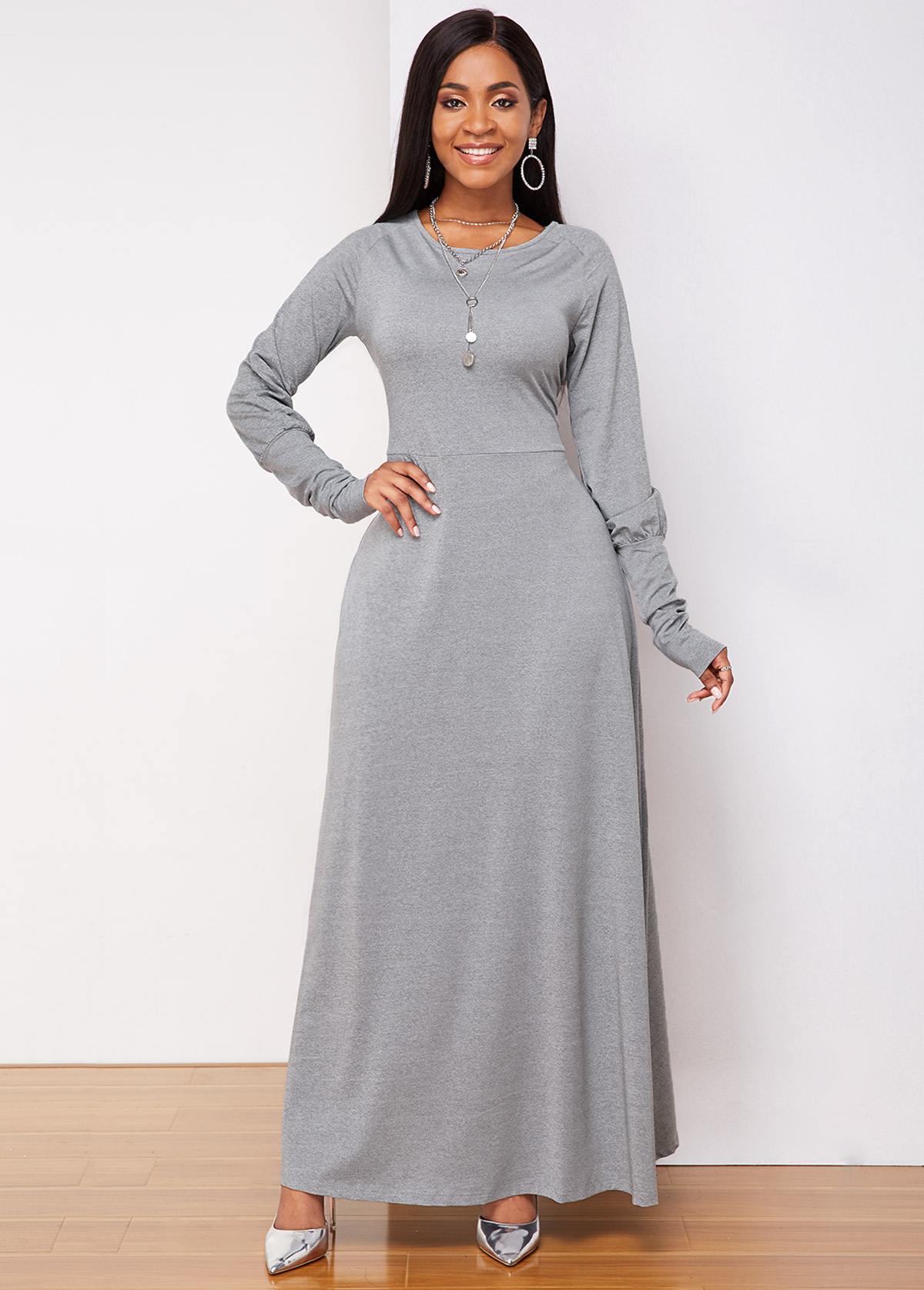 Lantern Sleeve Round Neck Light Grey Maxi Dress