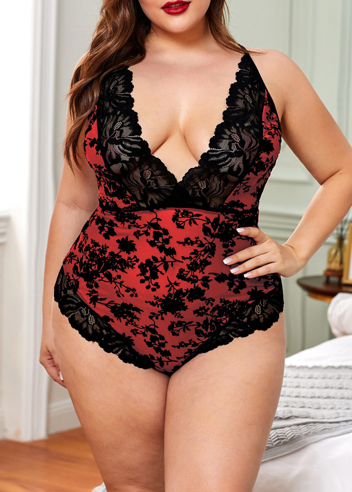 Plus Size Red Lace Criss Cross Back Bodysuit