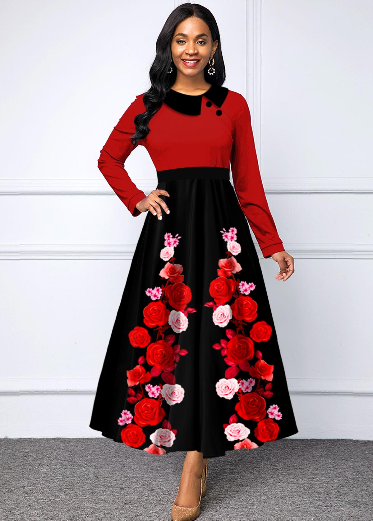 Floral Print Long Sleeve High Waist Dress