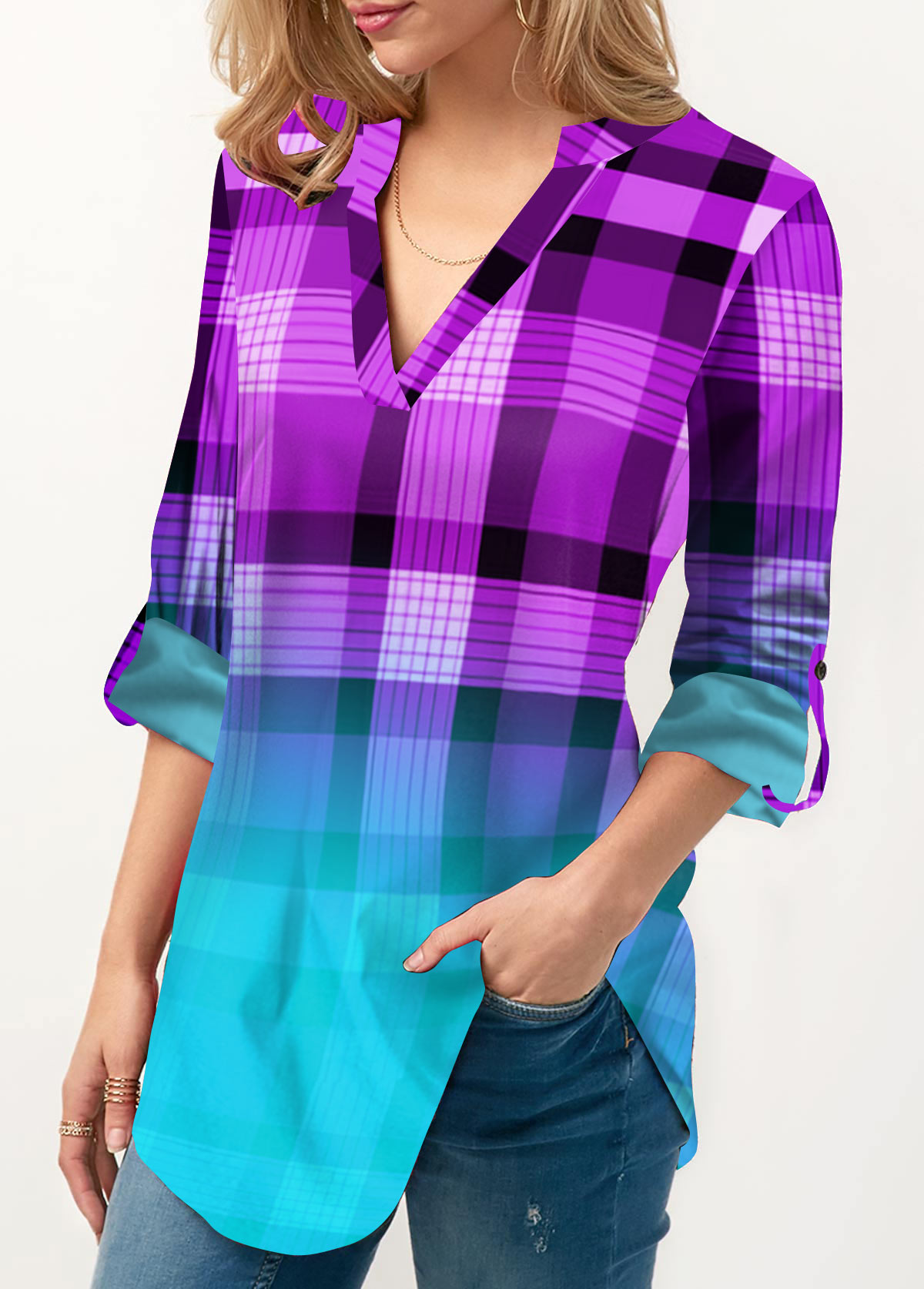 Plaid Print Roll Tab Sleeve Ombre Blouse