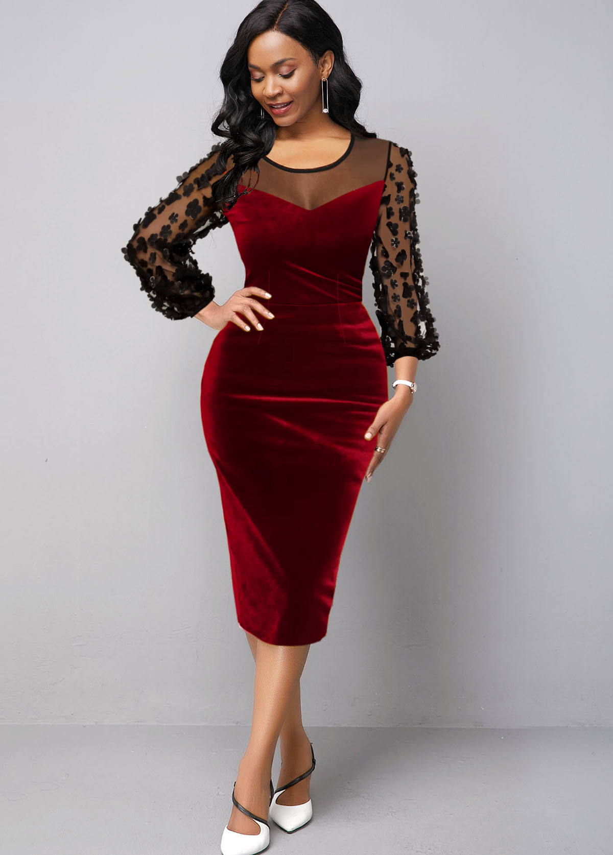 Mesh Panel Stereo Flower Velvet Dress