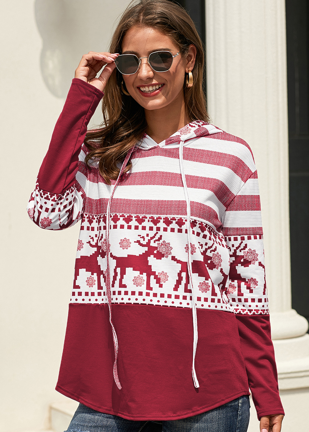Christmas Deer Print Long Sleeve Drawstring Hoodie