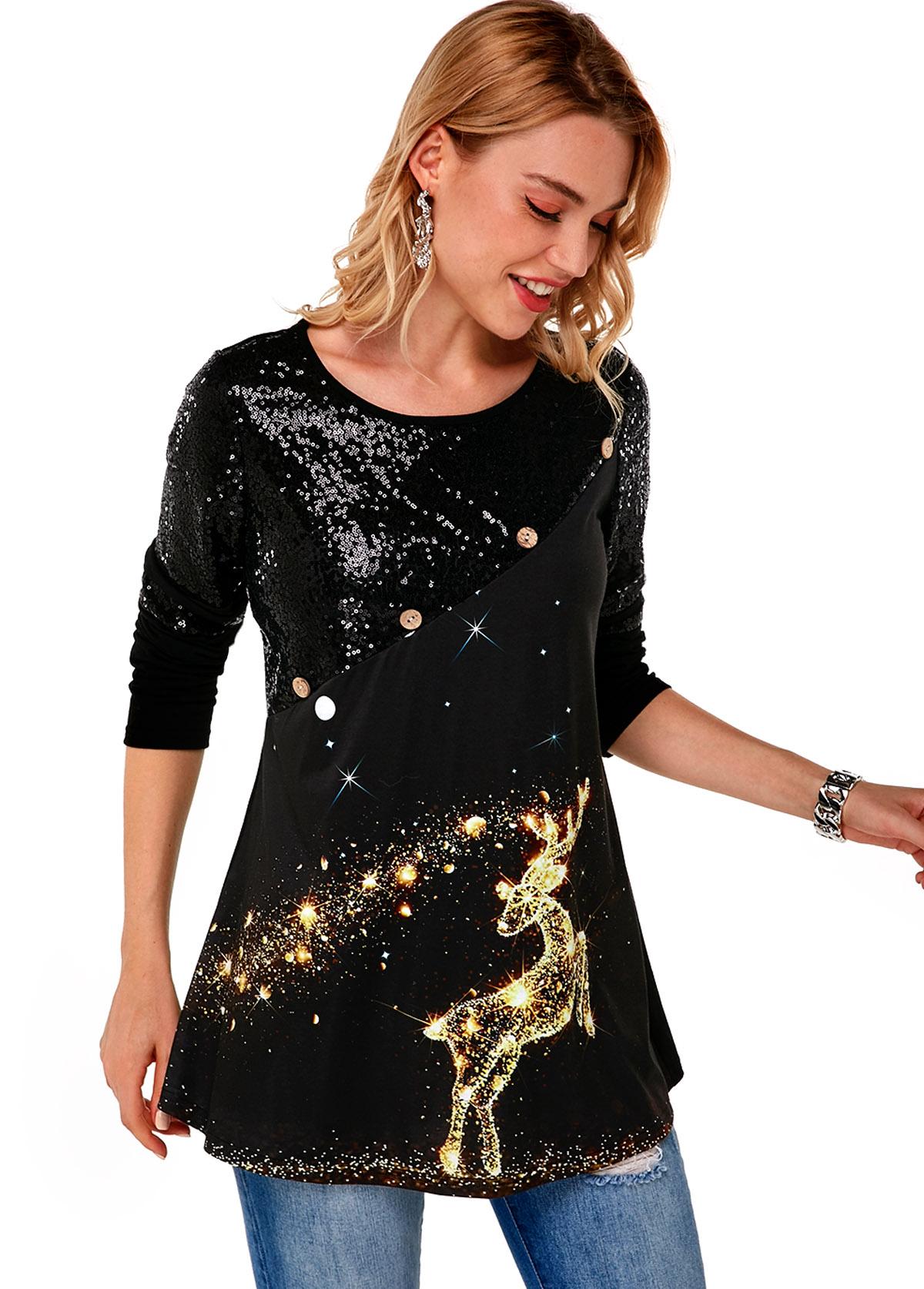 Sequin Christmas Print Long Sleeve T Shirt