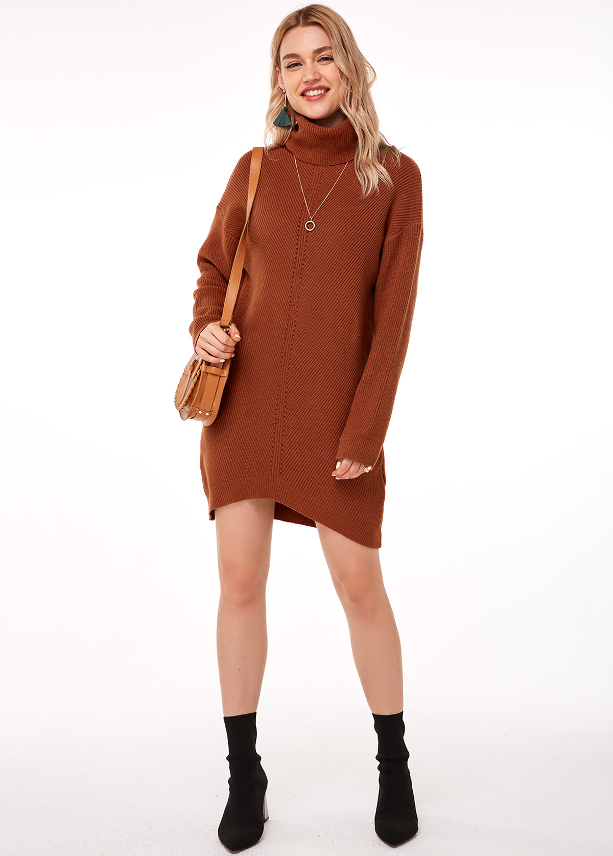 Turtleneck Long Sleeve Brick Red Sweater Dress