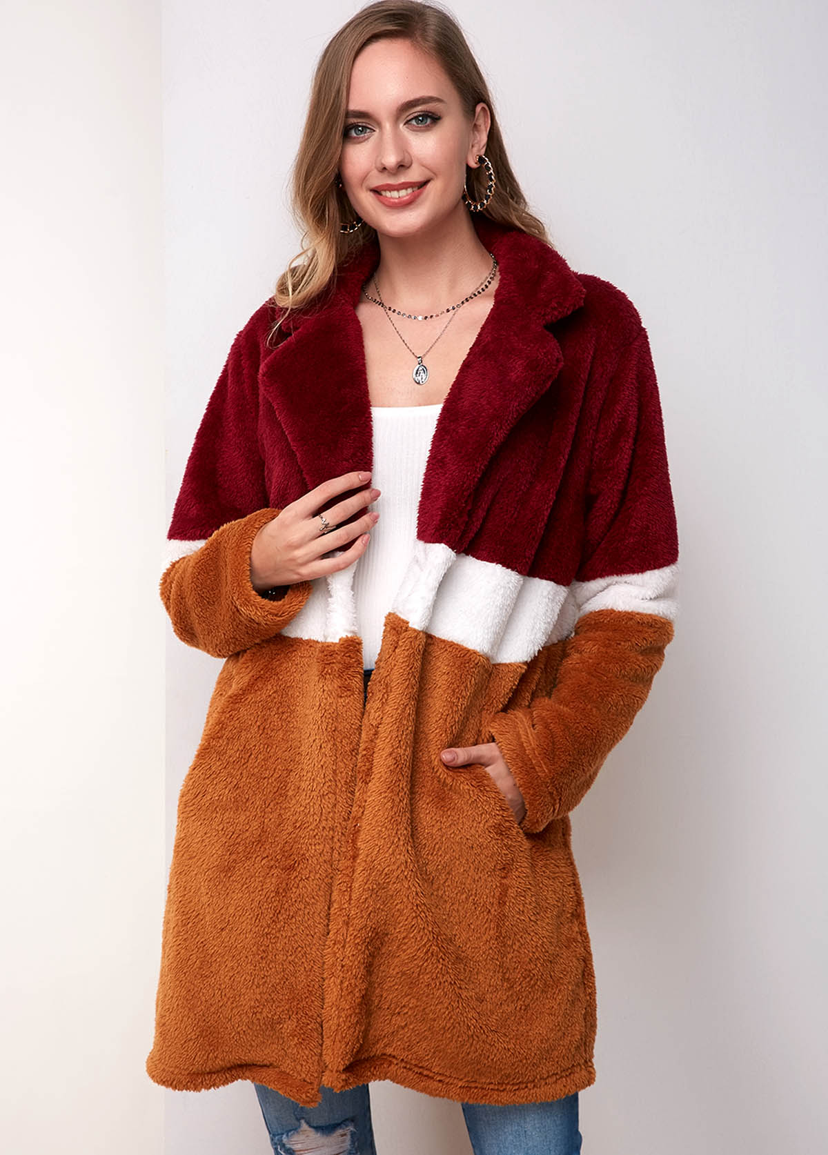 Contrast Side Pocket One Button Fluffy Coat