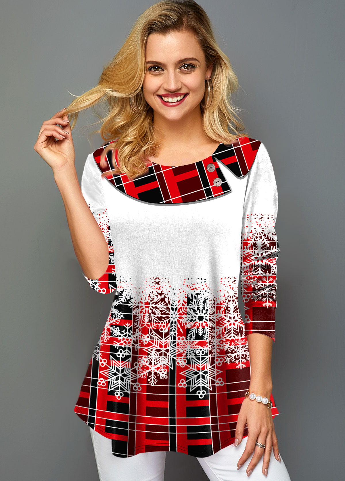 Christmas Print Three Quarter Sleeve T Shirt