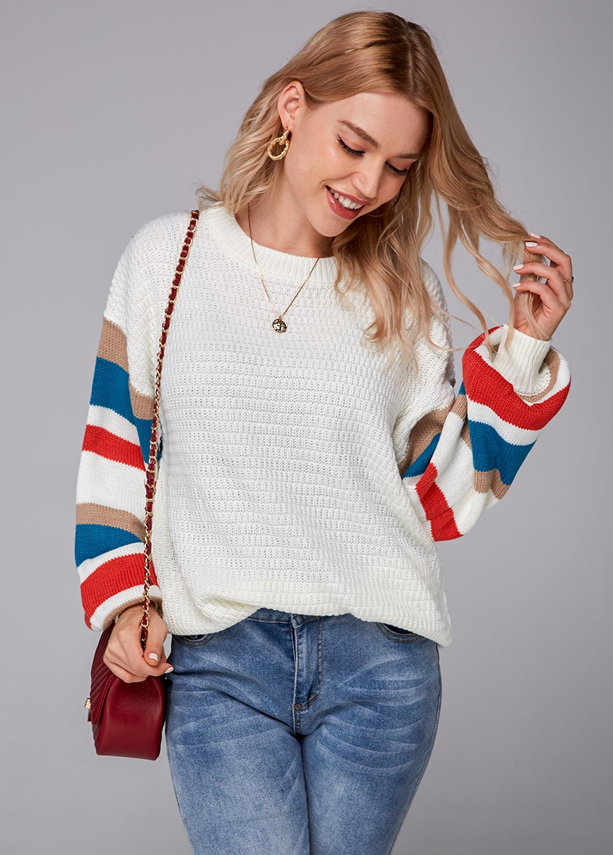 Contrast Striped Round Neck Long Sleeve Sweater