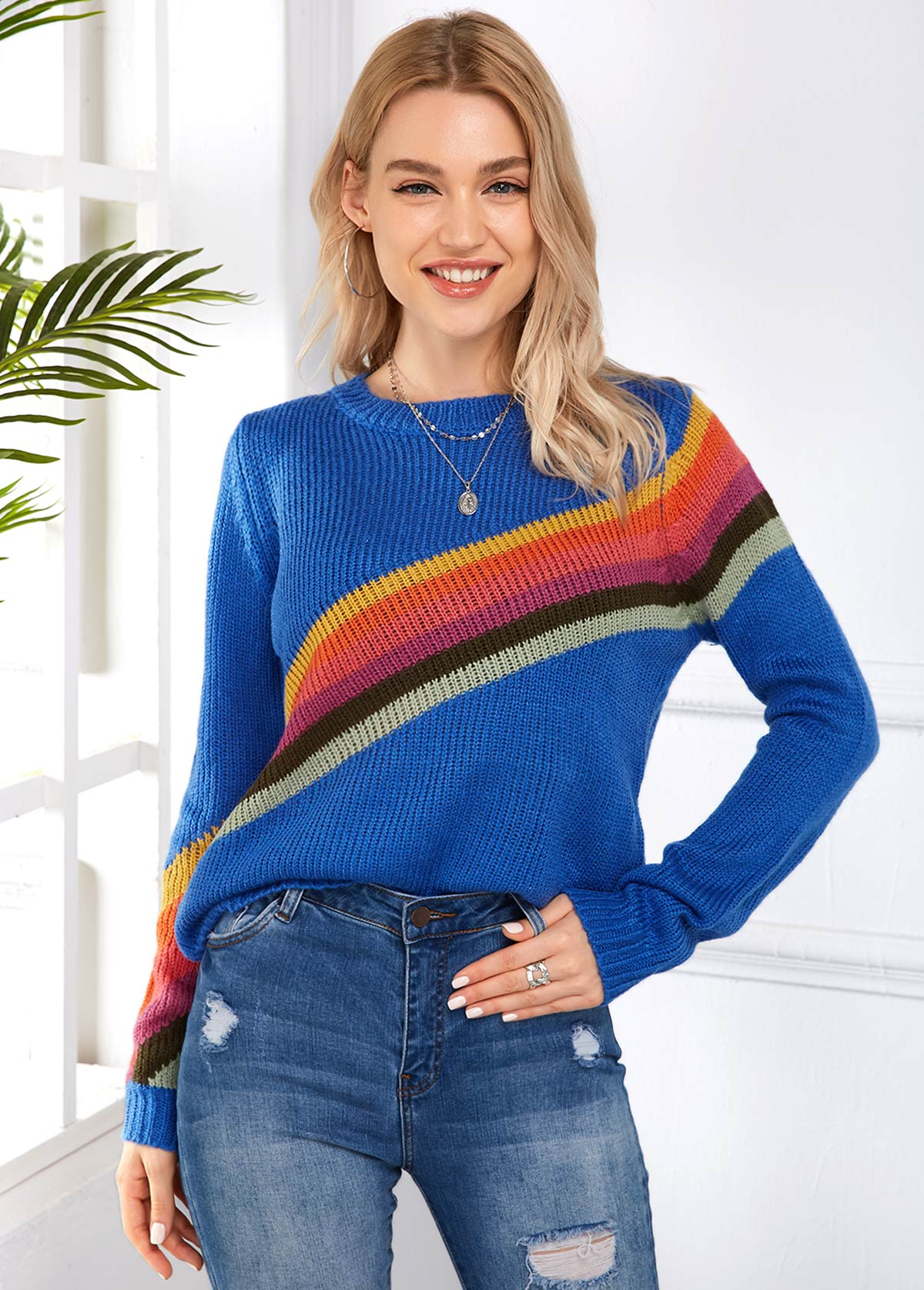 Rainbow Stripe Round Neck Long Sleeve Sweater