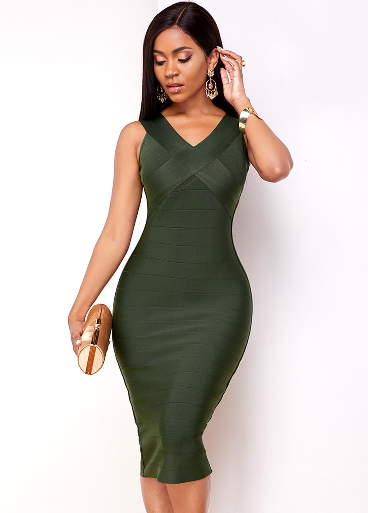 Army Green V Neck Sleeveless Bodycon Dress