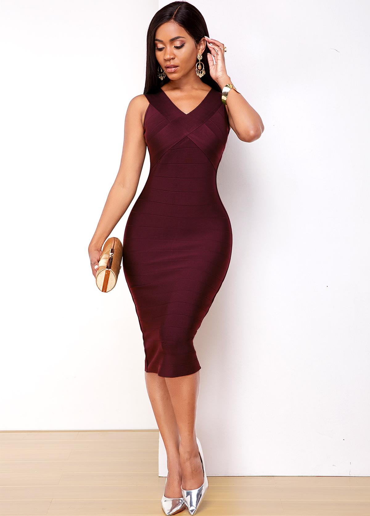 Purple Red V Neck Sleeveless Bodycon Dress