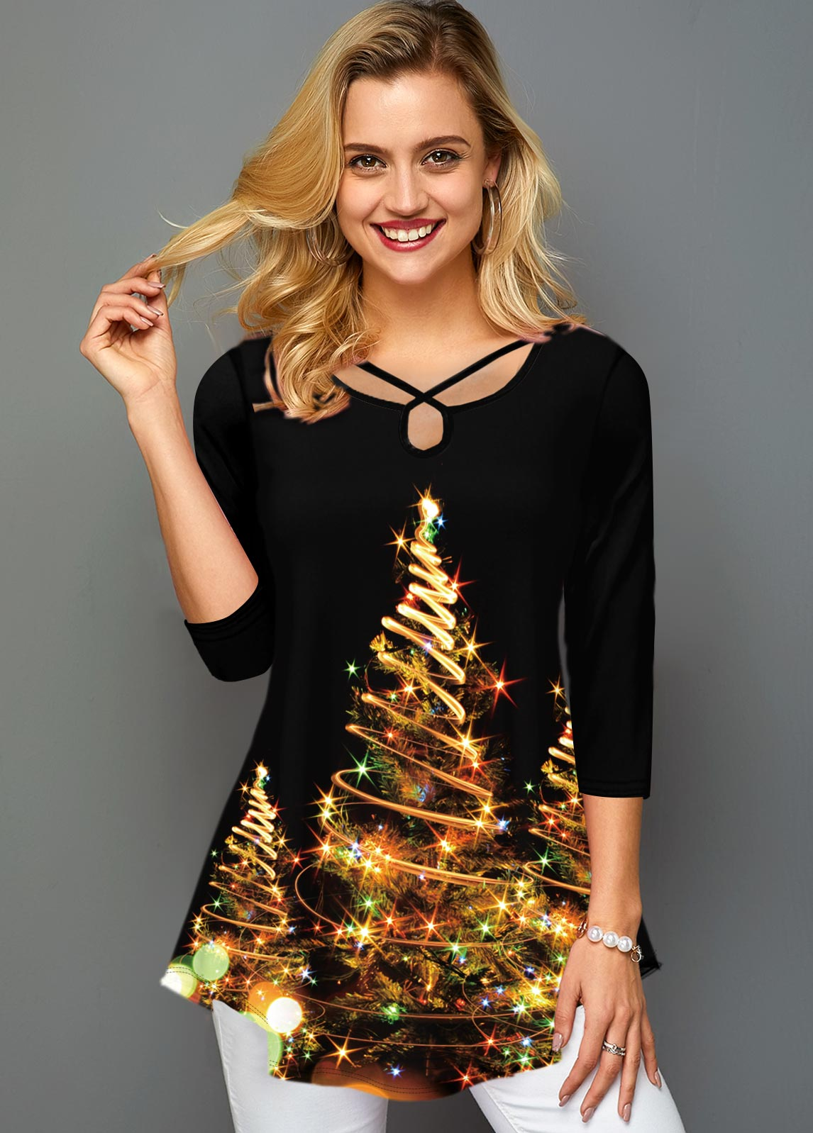 Christmas Tree Print Cross Strap T Shirt
