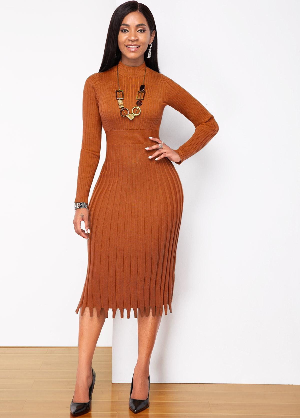 Brown Round Neck Long Sleeve Sweater Dress