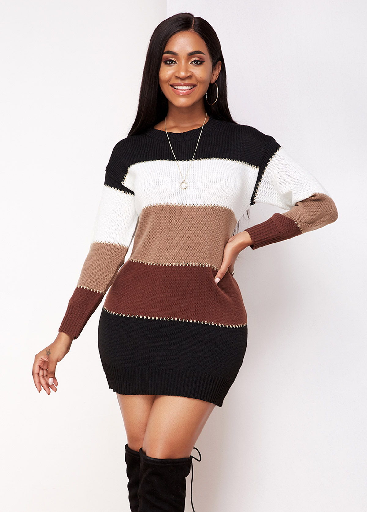 Contrast Round Neck Long Sleeve Sweater Dress