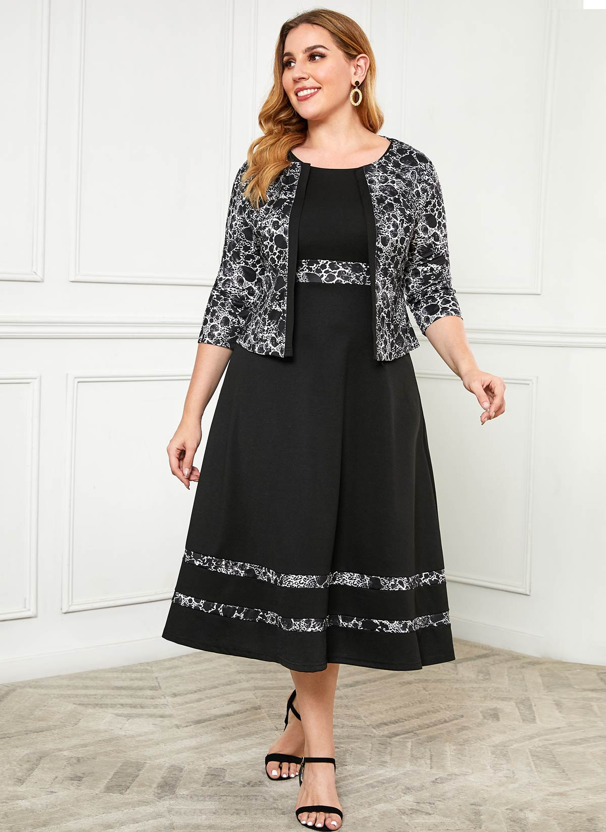 Plus Size Printed Cardigan and Round Neck Dress