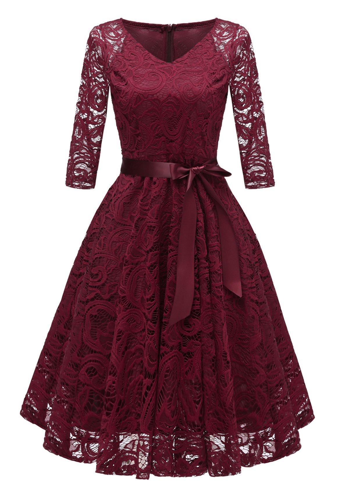 Belted Lace V Neck Three Quarter Sleeve Dress