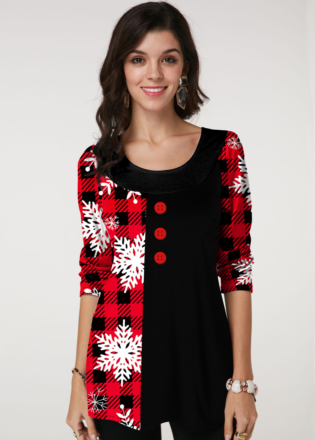 Christmas Print Round Neck Button Detail T Shirt