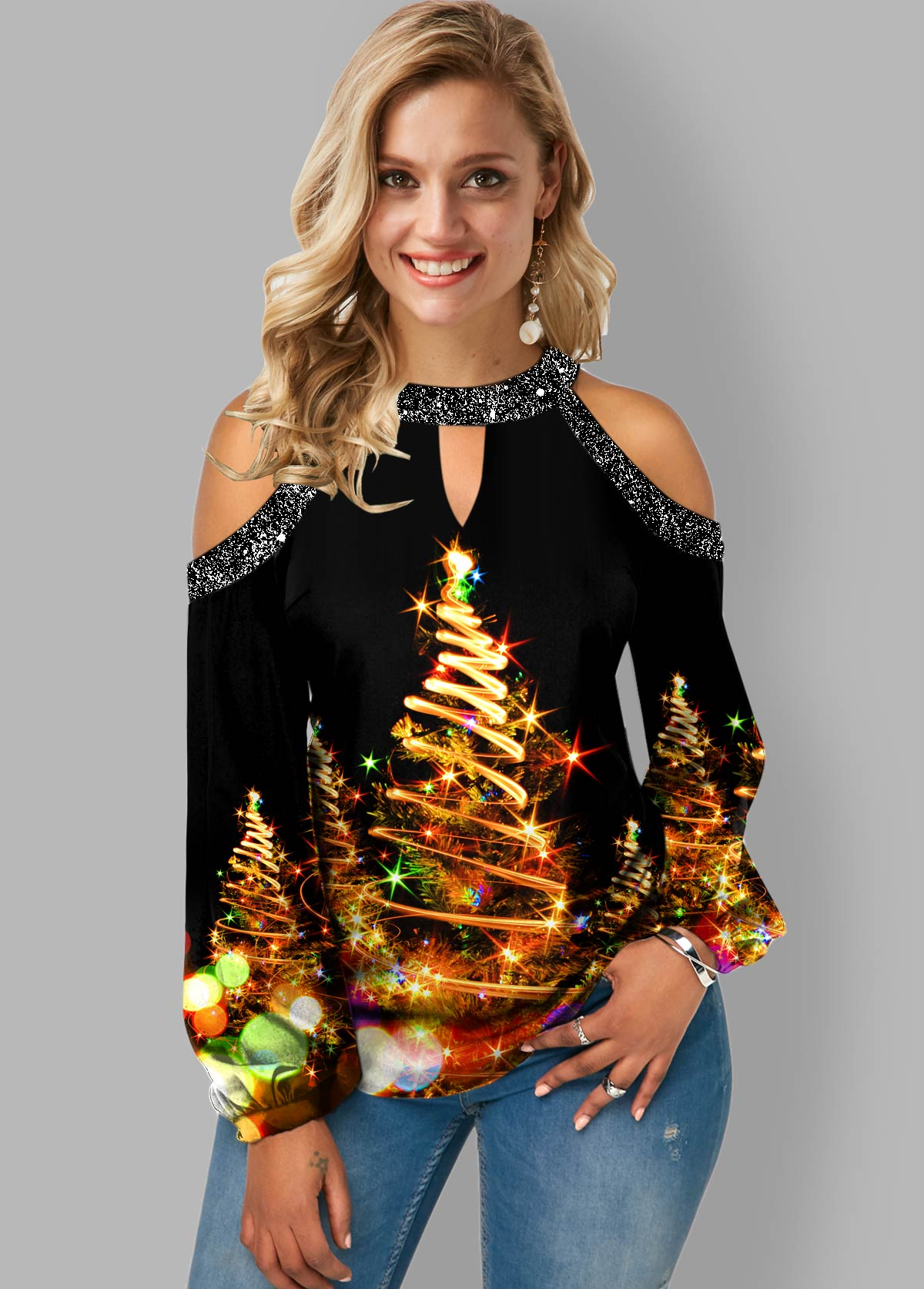 Christmas Print Cold Shoulder Sequin Panel Blouse