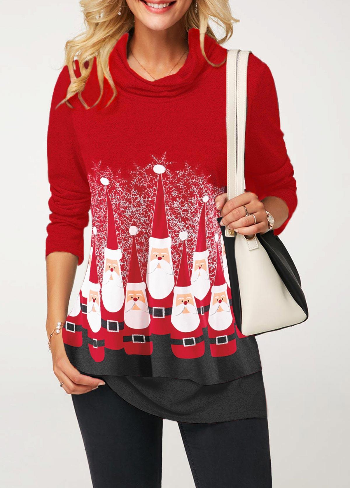 Christmas Print Cowl Neck Contrast Sweatshirt