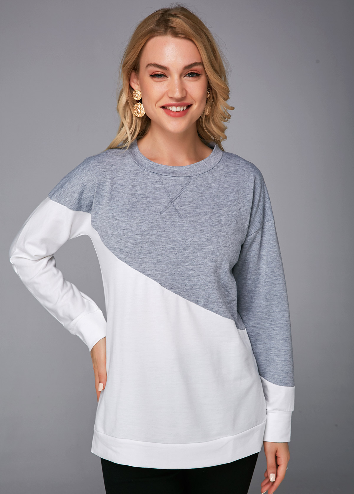 Color Block Round Neck Long Sleeve T Shirt