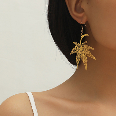 Maple Leaf Design Gold Metal Earring Set