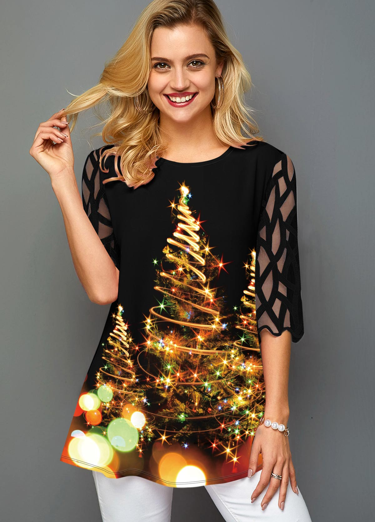 Christmas Tree Print Mesh Sleeve Round Neck T Shirt