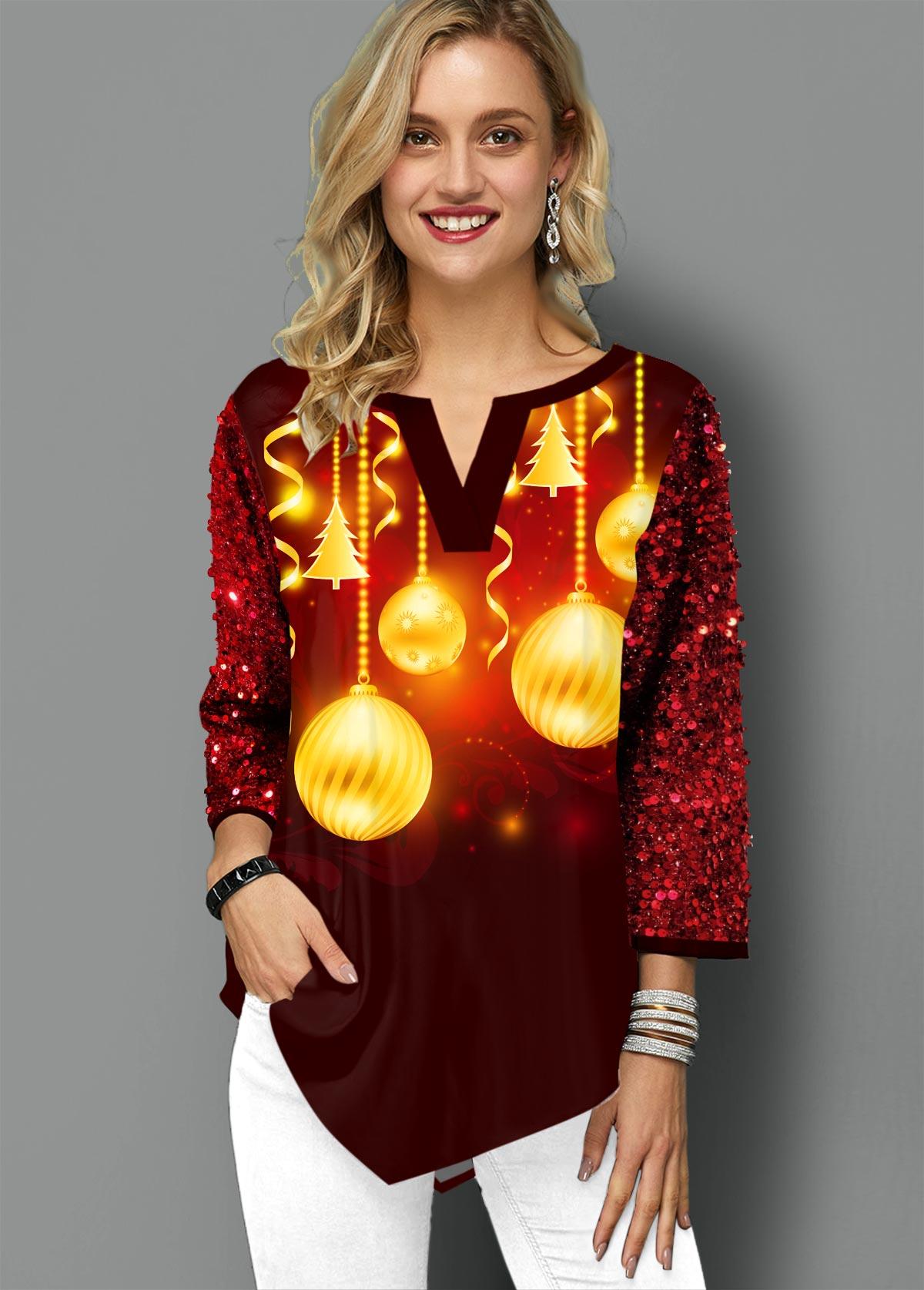 Asymmetric Hem Christmas Print Split Neck T Shirt