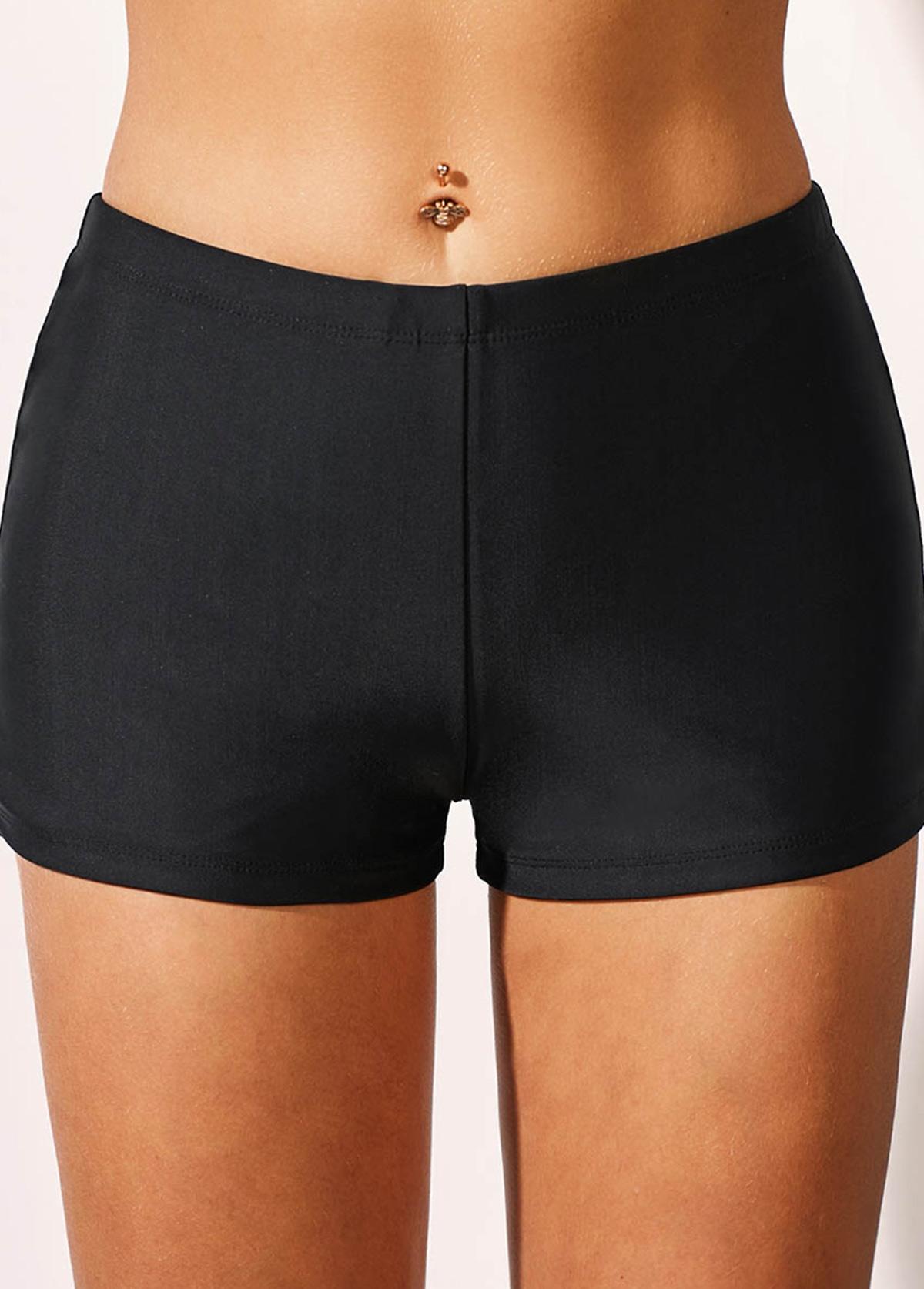 Black Mid Waist Swimwear Shorts