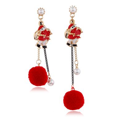 Santa Claus Pearl Detail Red Earring Set