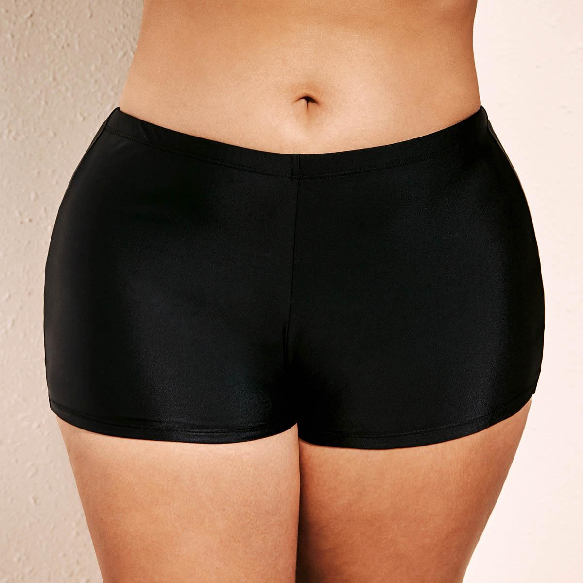 Plus Size Black Mid Waist Swimwear Shorts