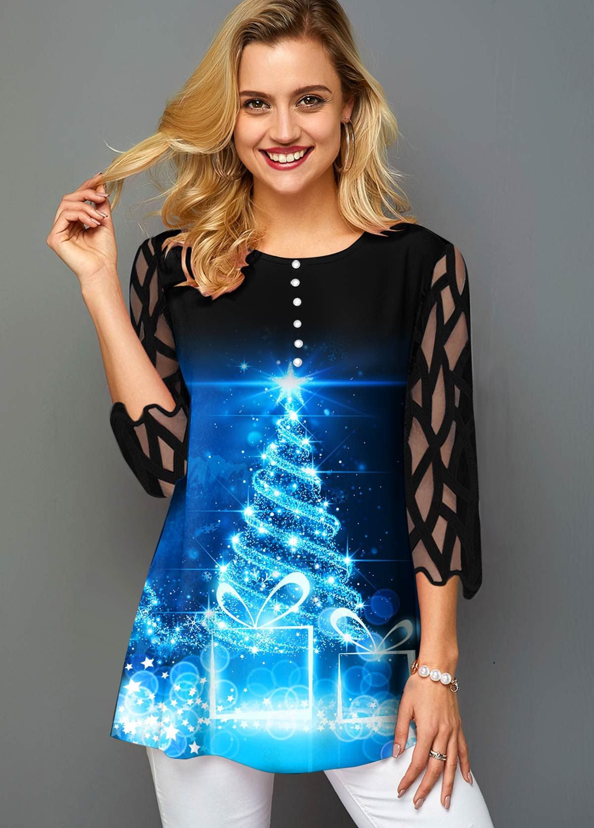 Christmas Tree Print Mesh Panel T Shirt
