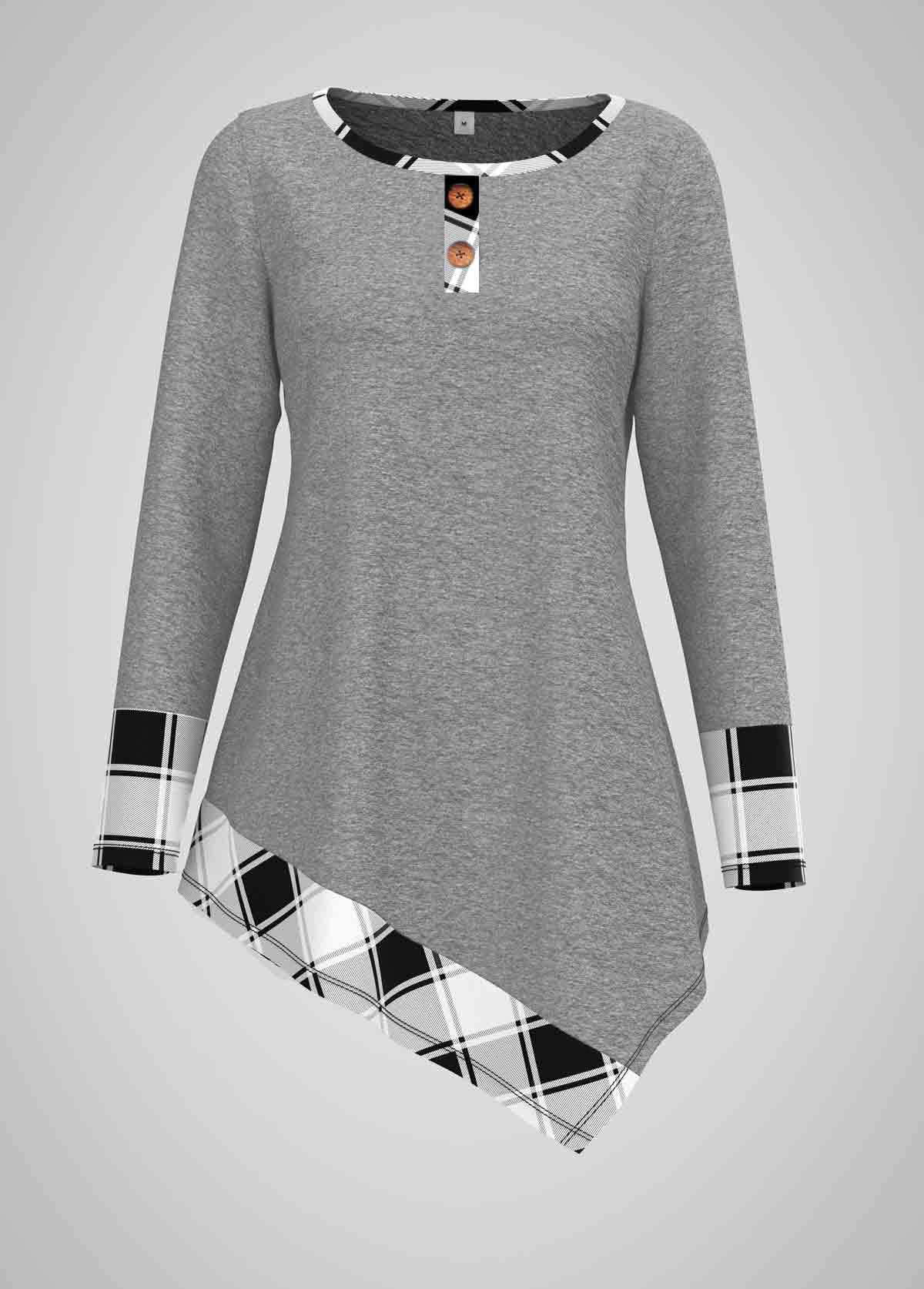 Asymmetric Hem Plaid Print Round Neck T Shirt