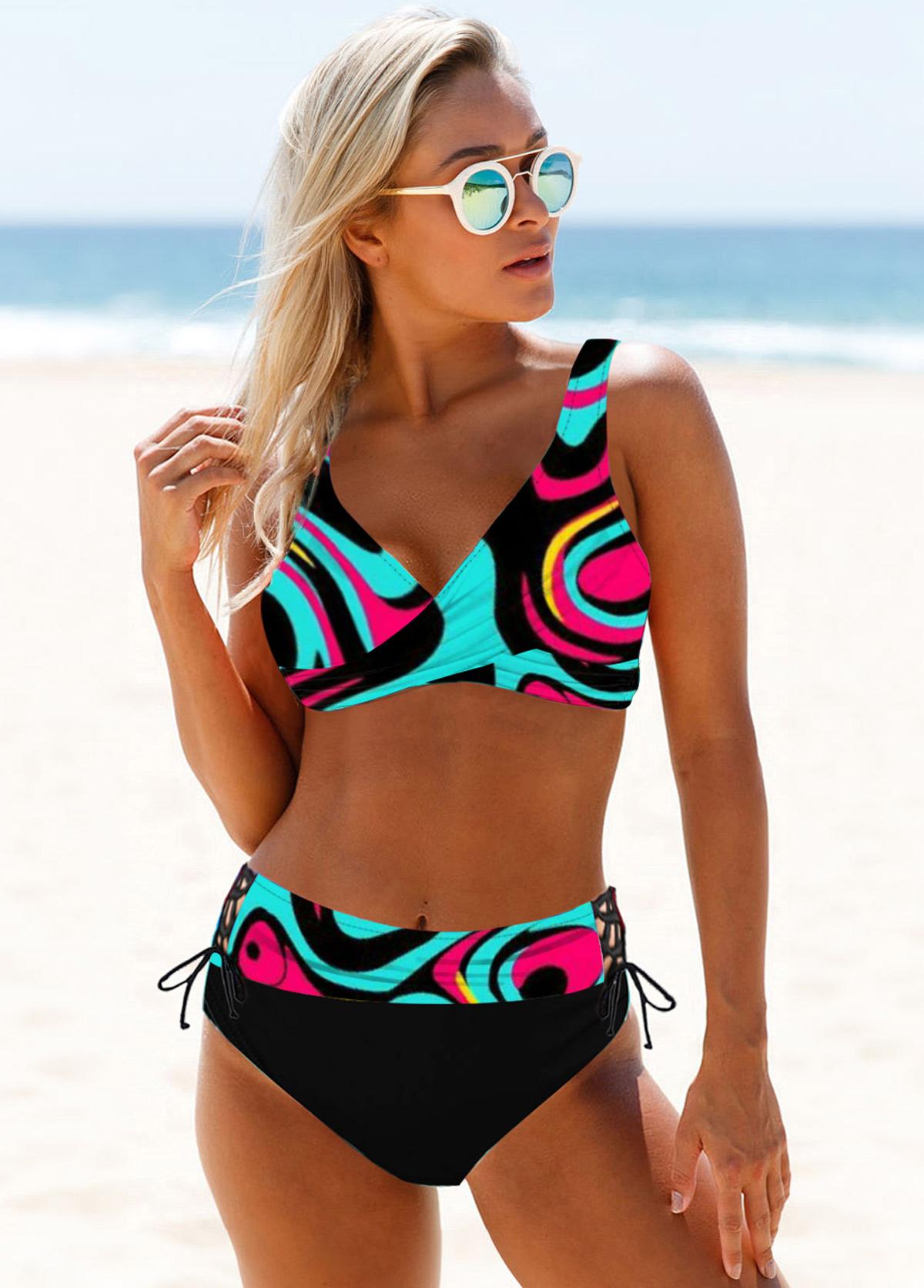 Abstract Print Lace Up Colorful Bikini Set