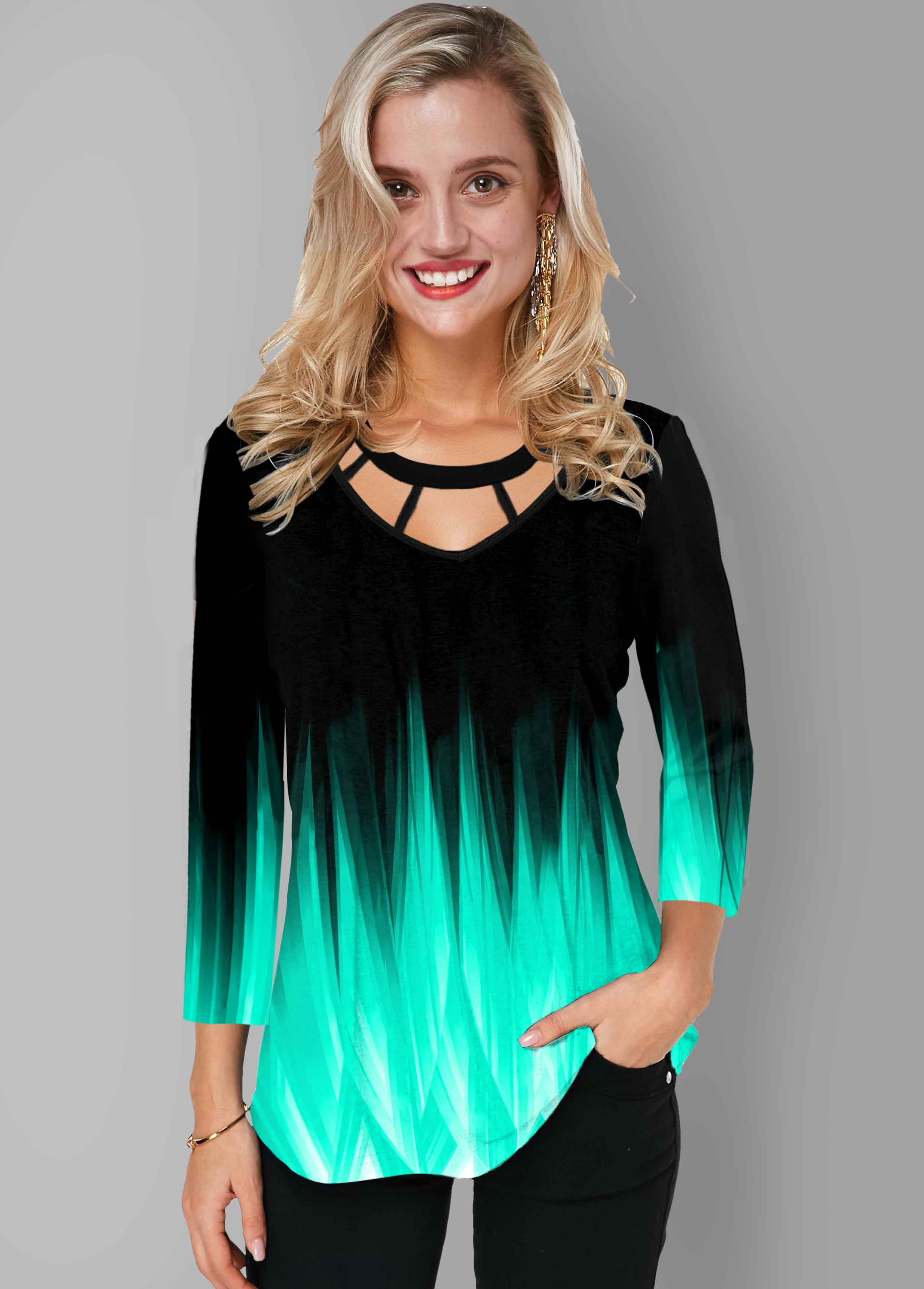 Printed Cage Neck Ombre T Shirt