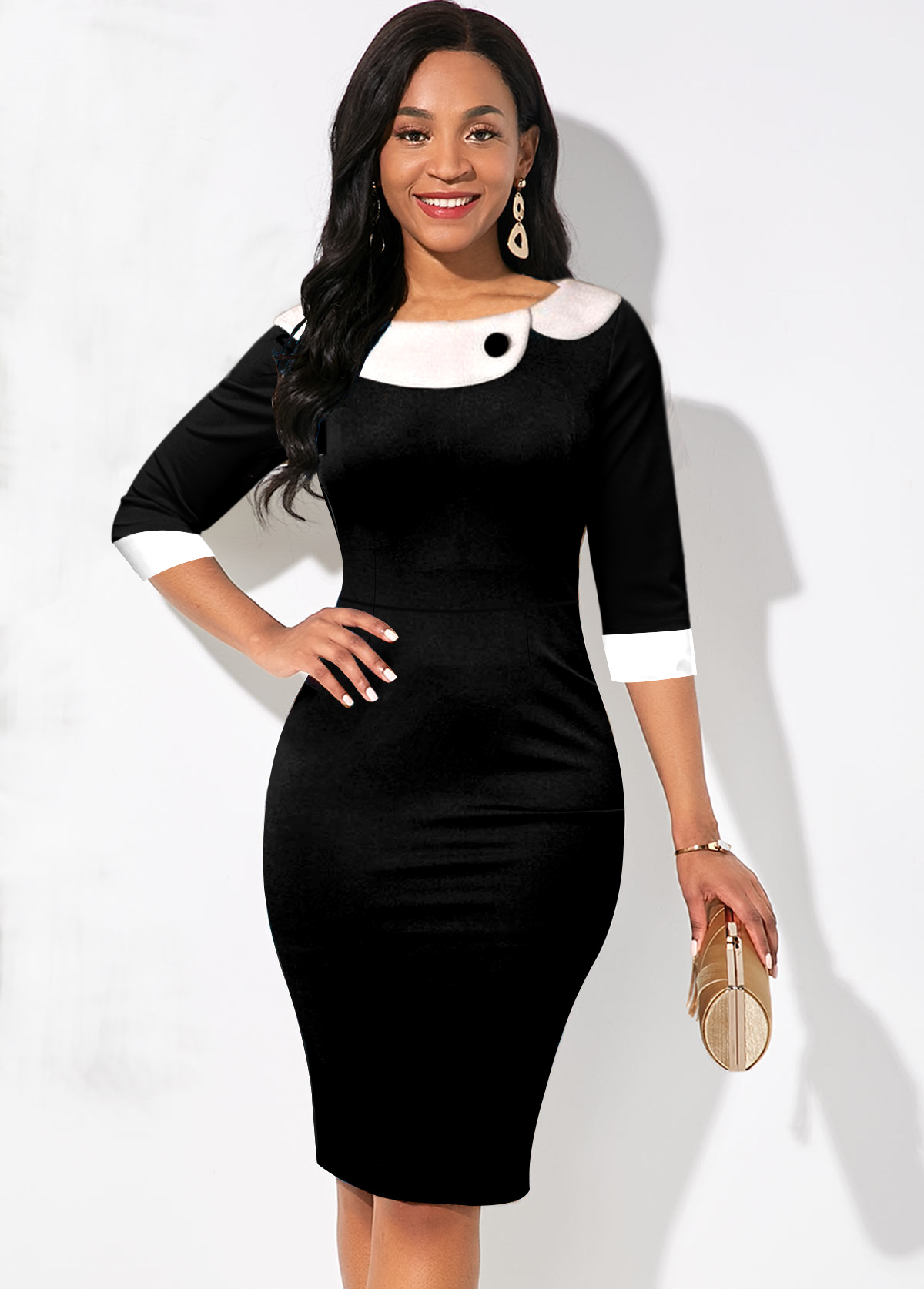 Contrast Three Quarter Sleeve Bodycon Dress