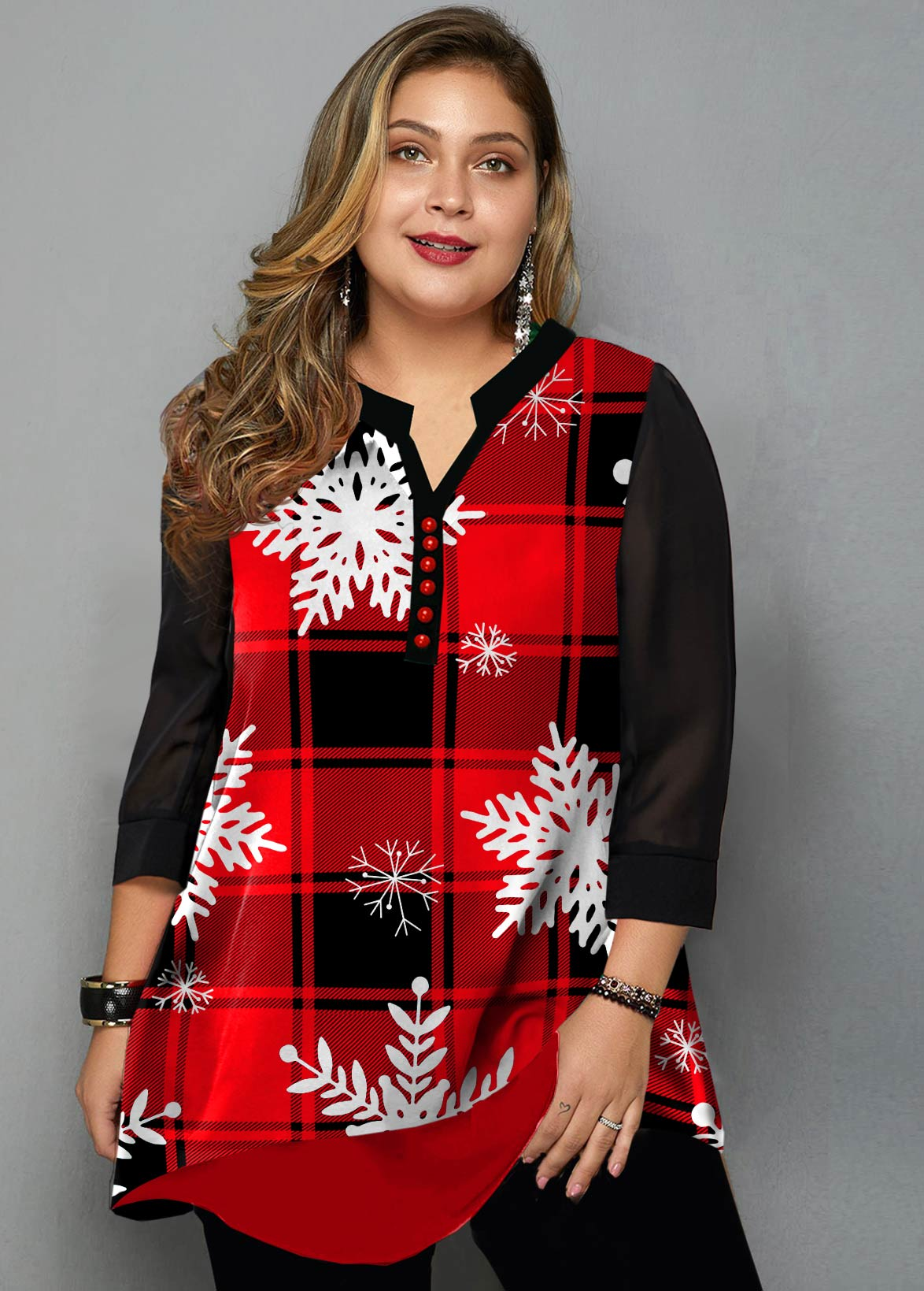Plus Size Plaid and Snowflake Print Blouse