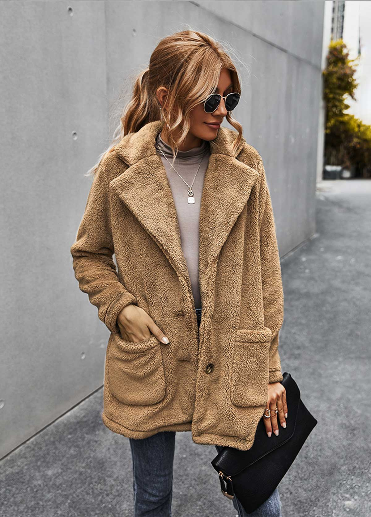 Turndown Collar Button Up Pocket Fluffy Coat