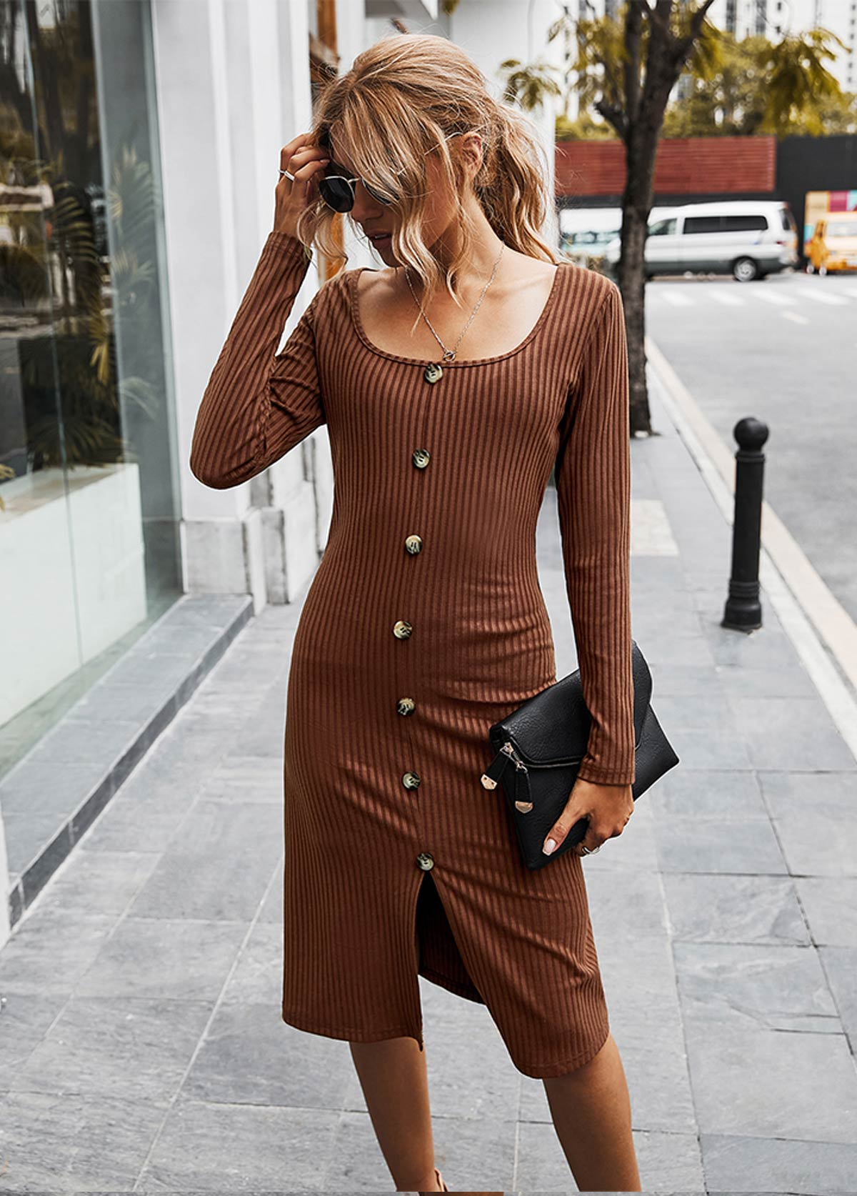 Square Collar Button Detail Long Sleeve Dress