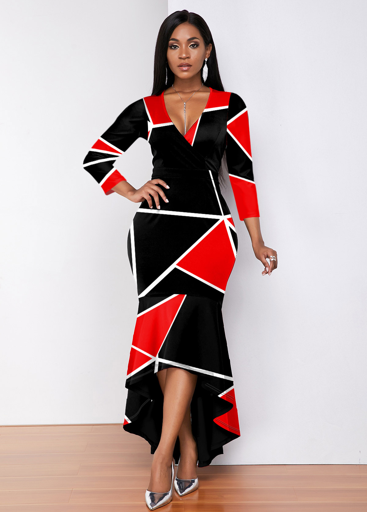 Color Block Plunging Neck High Low Dress