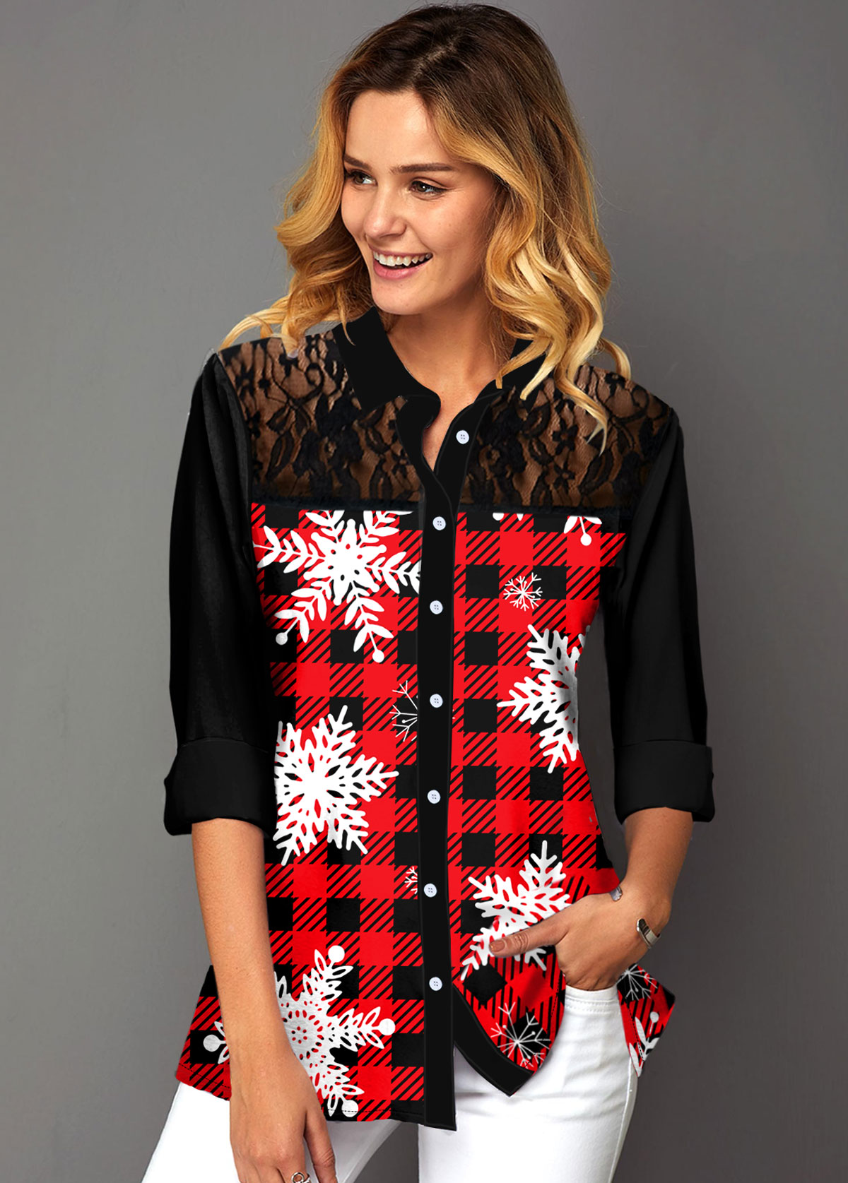 Plaid and Snowflake Print Lace Panel Shirt